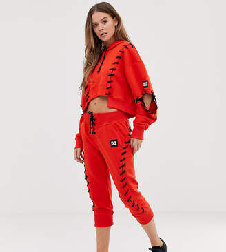 Ivy Park craft lace up joggers in red