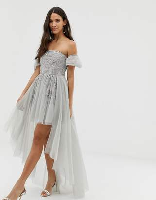 Dolly & Delicious off shoulder mini embellished prom dress with train detail in gray