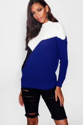 boohoo Colour Block Splice Jumper