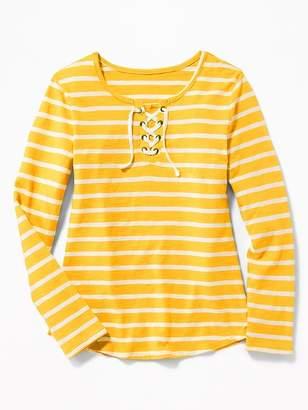 Old Navy Lace-Up-Yoke Slub-Knit Tee for Girls