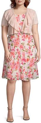 Perceptions Short Sleeve Jacket Mid Length Dress - Plus