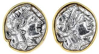 Kenneth Jay Lane Large Gold Silver Coin Clip Earrings