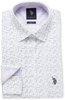 U.S. Polo Assn. White Sketch Print Slim Fit Dress Shirt