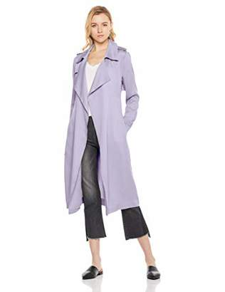 MEHEPBURN Women's Lapel Duster Jacket Tencel Cardigan Trench Coat Outwear with Belt M