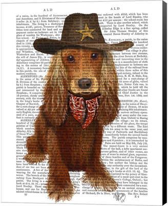 Cocker Spaniel Cowboy By Fab Funky Canvas Art