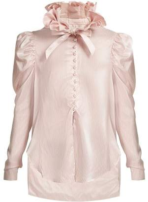 Hillier Bartley - Pinstripe Exaggerated Ruffle Collar Silk Shirt - Womens - Pink White