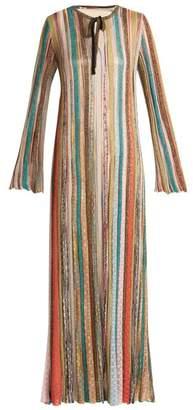 Missoni - Striped Metallic Kaftan Dress - Womens - Nude Gold