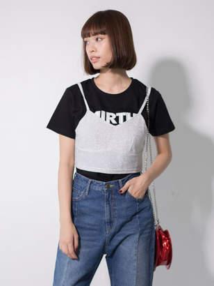 NiCORON ラメキャミ×ロゴTシャツセット