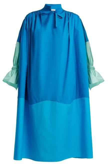 Colour-block cotton dress