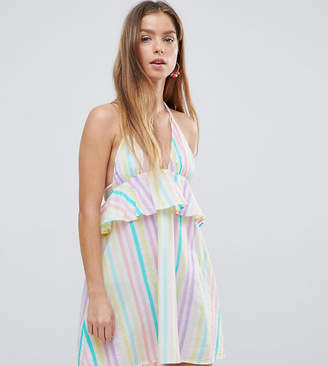 64d2854e475 Asos DESIGN PETITE Candy Stripe Halter Frill Beach Dress