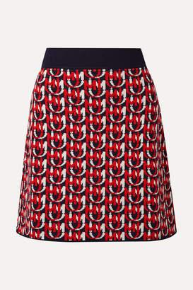 Miu Miu Wool-blend Jacquard-knit Mini Skirt - Red