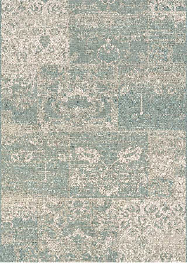 "Couristan Couristan Afuera Indoor/Outdoor Country Cottage Sea Mist-Ivory 2'2"" x 7'10"" Runner Area Rug"