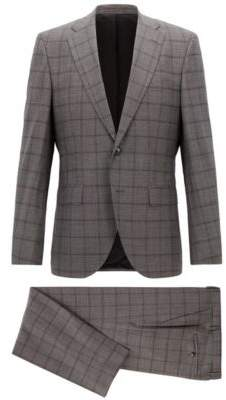 BOSS Hugo Constructed regular-fit suit in checkered virgin wool 36R Open Grey