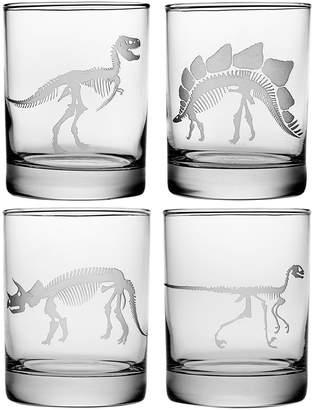 Susquehanna Glass Co. Jurassic Assortment Rocks Glasses, 14oz, S/4