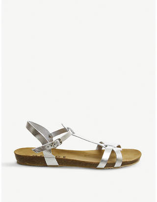 Office Sorbet T-bar Footbed metallic leather sandals