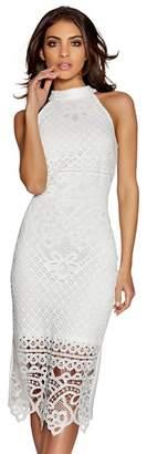 Quiz Cream Lace High Neck Midi Dress