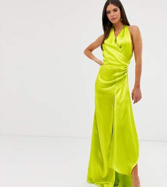 Asos Design DESIGN Tall halter maxi dress in high shine satin with drape neck