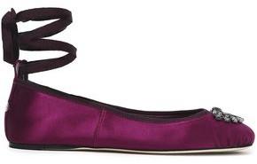 Jimmy Choo Grace Crystal-embellished Satin Ballet Flats