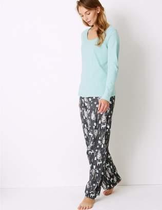 Marks and Spencer Pure Cotton Woodland Print Pyjama Set
