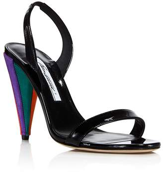 Brian Atwood Women's Susii Patent Leather & Suede Color-Block High-Heel Slingback Sandals