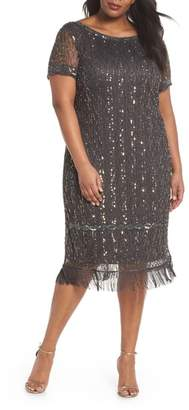 Pisarro Nights Embellished Fringe Hem Shift Dress
