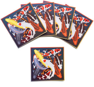 Arlette Ess Set of 5 Textured Greeting Cards with Envelopes Multicoloured Koi