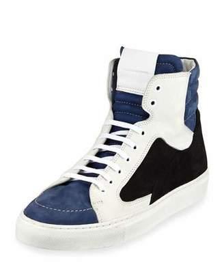 Public School Men's Artel Leather High-Top Sneakers, Black/Blue