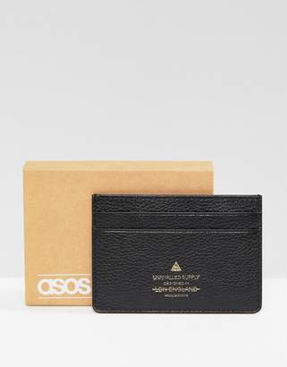 Asos Leather Card Holder In Black With Foil Emboss Logo