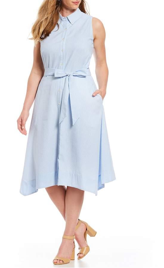 Tahari ASL Plus Size Sleeveless Seersucker Stripe Midi Shirt Dress