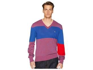 Vivienne Westwood Colorblock V-Neck Sweater Men's Sweater