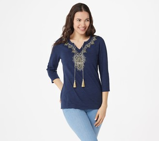 Belle By Kim Gravel Belle by Kim Gravel Slub Knit Gold Embroidered Top with Tassels
