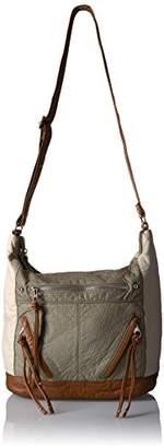 Bueno of California Pebble Washed Color Block Shoulder Bag Putty