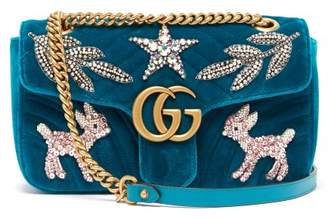 Gucci Gg Marmont Small Embellished Velvet Cross Body Bag - Womens - Green Multi