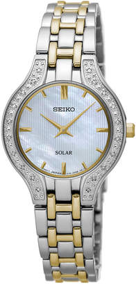 Seiko Women's Solar Diamond Accent Two-Tone Stainless Steel Bracelet Watch 28mm SUP335 $450 thestylecure.com