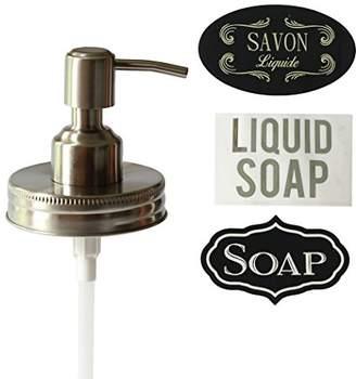 Milkweed Farms Premium Anti Rust Stainless Steel Mason Jar Soap Dispenser Lid With Waterproof Labels