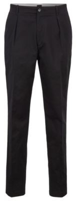BOSS Relaxed-fit trousers in high-twist stretch-cotton gabardine