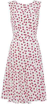 Oscar de la Renta Pleated Floral-print Silk Crepe De Chine Dress