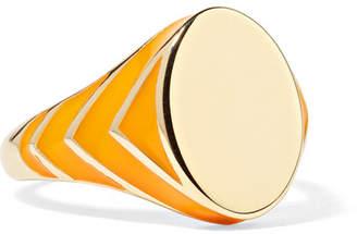 Alison Lou Stripe 14-karat Gold And Enamel Ring