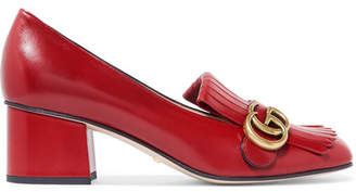 Gucci Marmont Fringed Logo-embellished Leather Pumps - Red