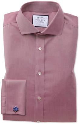 Charles Tyrwhitt Extra Slim Fit Non-Iron Spread Collar Red Twill Cotton Dress Shirt Single Cuff Size 15.5/36