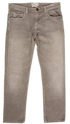 Current/Elliott The Boyfriend Corduroy Mid-Rise Straight-Leg Pants