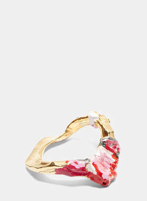 Acne Studios Aggy Painted Bangle in Gold, Pink and Grey