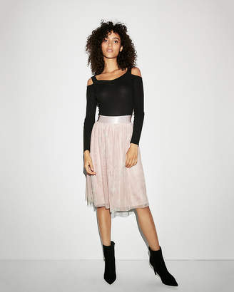 Express Floral Tulle Ballerina Midi Skirt
