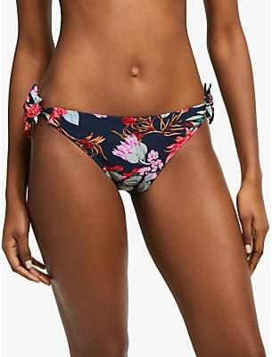 John Lewis & Partners Arizona Botanical Print Bunny Tie Bikini Briefs, Navy/Multi