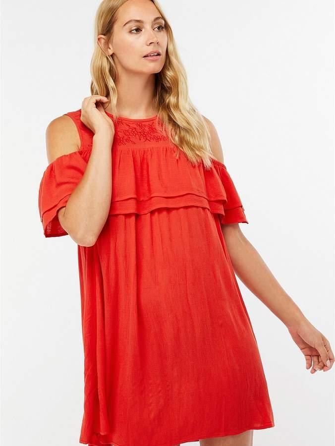Double Ruffle Beach Dress - Red