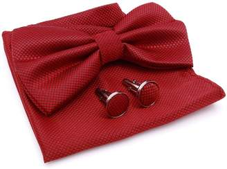 ibaexports Mens Classic Necktie Bow Tie Pocket Square Cufflinks Tuxedo Fashion Wear Pre