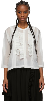 Comme des Garcons Off-White Thin Three-Ruffle Crewneck Sweater