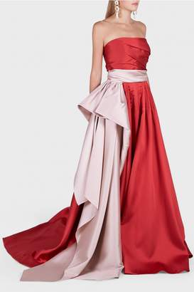 Reem Acra Strapless Red Mikado Ball Gown with Belt