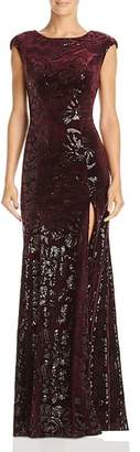 Laundry by Shelli Segal Sequined Velvet Cap-Sleeve Gown