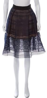 Self-Portrait Lace-Trimmed Knee-Length Skirt